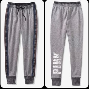 PINK Rainbow Reversible Bling Sequence Joggers